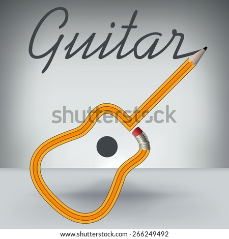 A Guitar Pencil Writes its Own Name - stock vector