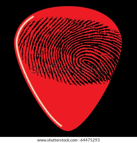A guitar pick with a fingerprint on it - stock vector