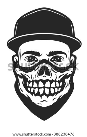 A guy in a baseball cap and a bandana with a skull pattern. - stock vector