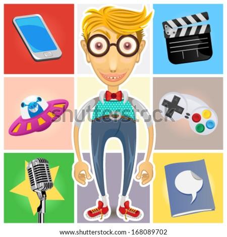 A Guy Represented Of Gadget, Technology, Aliens, Film, Celebrities, Video Games, Nerd, Geek And Dork - stock vector