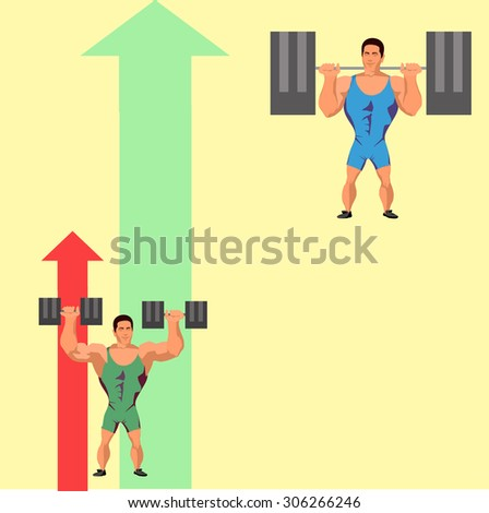 a guy with a dumbbell and a guy with a a barbell - stock vector