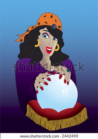 A gypsy dark-haired woman wearing an orange headscarf holds her hands above a crystal ball. - stock vector
