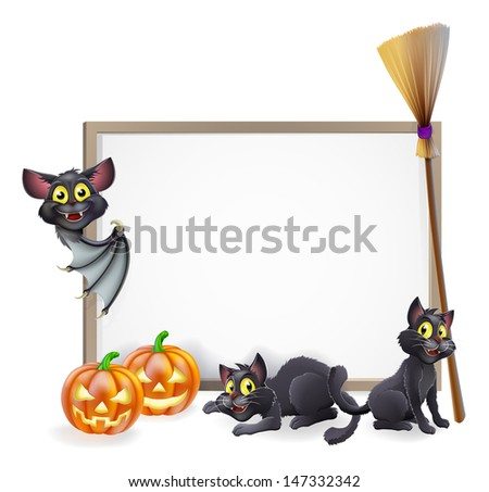 A Halloween background sign with pumpkins, black witches cats and broomstick and vampire bat and copyspace for your text in the centre - stock vector