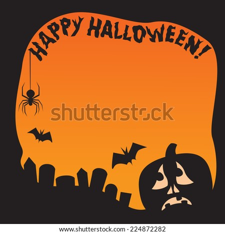 A Halloween border with silhouetted bats, spider and pumpkin and the words Happy Halloween! - stock vector