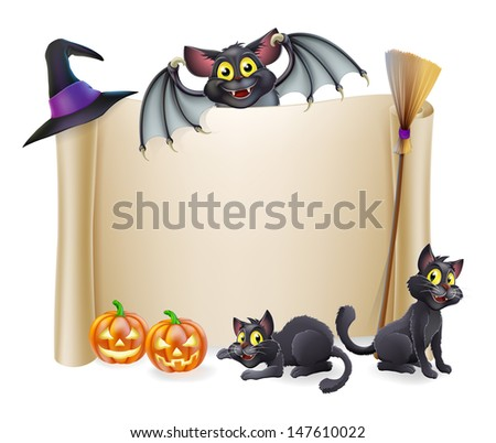 A Halloween scroll sign with a bat character above the banner and pumpkins, witch's cats, hat and broomstick - stock vector