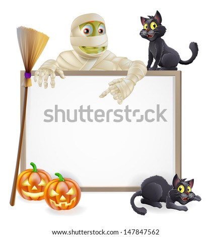 A Halloween sign with a classic mummy character pointing down and witch's black cats, broomstick and Halloween carved orange pumpkins - stock vector