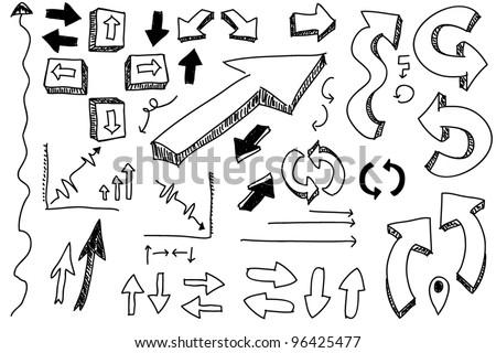 a hand drawn arrows set - stock vector