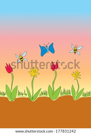 A hand-drawn depiction of a spring morning with flowers and pollinating insects. The image is seamless on each side and can be repeated horizontally.