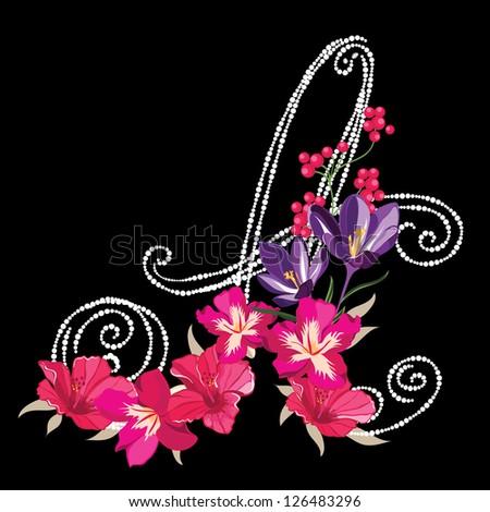 A, hand drawn flower alphabet ,flower font - stock vector
