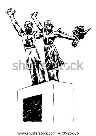 A hand drawn sketch graphic of Tugu Selamat Datang or Welcome Statue in Jakarta, Indonesia.