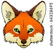 A hand drawn vector of a red fox's face. - stock vector