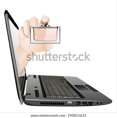 A hand giving Perfume bottle from a laptop as an online concept.