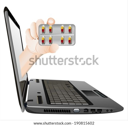 A hand giving pill  from a laptop as an online concept.