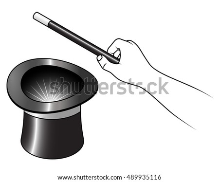 A hand holding a magic wand over a black top hat.
