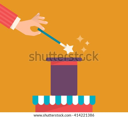 A hand holds a magic wand and makes a trick with a hat. Magic show concept. Vector illustration flat design. - stock vector