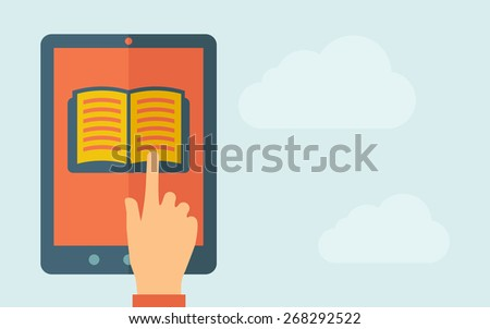 A hand is touching the screen of a tablet with book icon. A contemporary style with pastel palette, light blue cloudy sky background. Vector flat design illustration. Horizontal layout with text space - stock vector