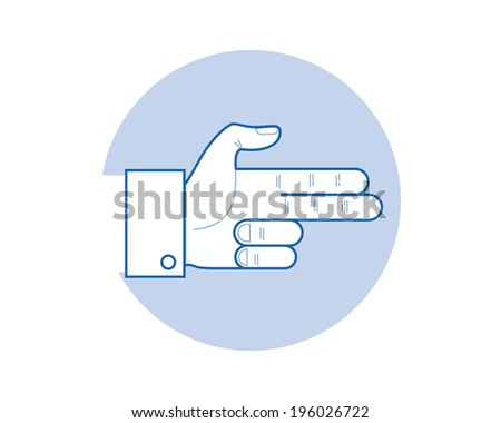 A hand making a shape of a pointed hand gun. - stock vector