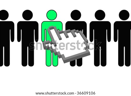 A hand pixel cursor points to and chooses a person selection from row of symbol people. - stock vector
