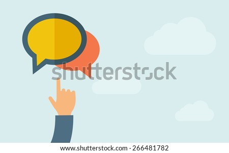 A hand pointing the blank bubble icon. A contemporary style with pastel palette, light blue cloudy sky background. Vector flat design illustration. Horizontal layout with text space on right part. - stock vector