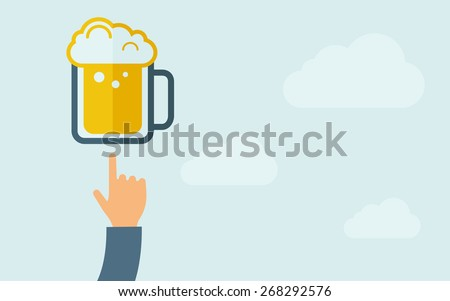 A hand pointing to beer mug icon. A contemporary style with pastel palette, light blue cloudy sky background. Vector flat design illustration. Horizontal layout with text space on right part. - stock vector
