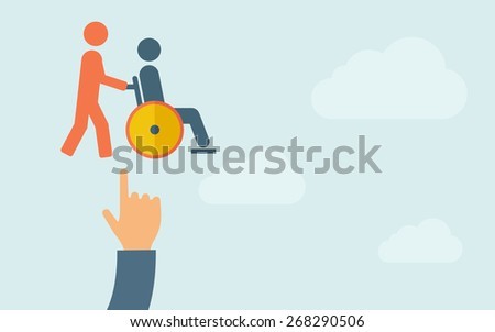 A hand pointing to man push in wheelchair icon. A contemporary style with pastel palette, light blue cloudy sky background. Vector flat design illustration. Horizontal layout with text space on right - stock vector