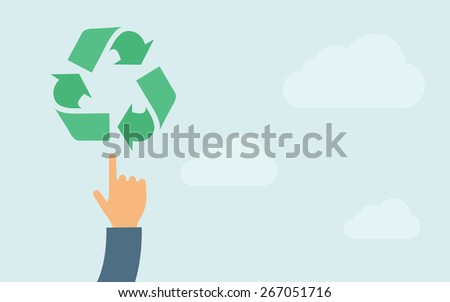 A hand pointing to recycling icon. A contemporary style with pastel palette, light blue cloudy sky background. Vector flat design illustration. Horizontal layout with text space on right part.