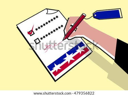 A hand signs on a paper that could be a voting ballot, survey questionnaire, a government issued documents, contract and more. Editable Clip Art.
