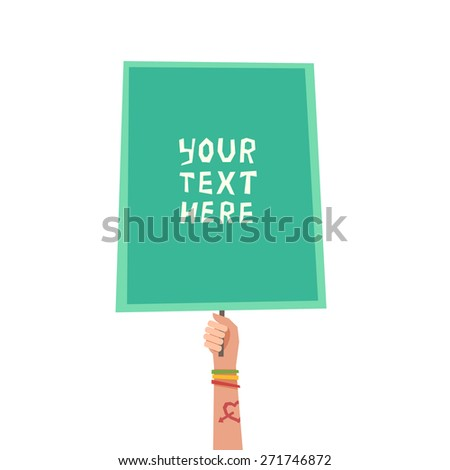 A hand with Love tattoo and colorful friendship bracelets holding a placard. Colorful background with hand and place for a text. Youth or Generation Y concept. Vector illustration un flat style  - stock vector