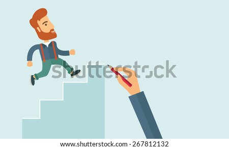 A hand with red pen drawn a hipster Caucasian business man climbing stairs, - stock vector