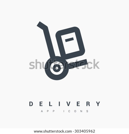 a handcart delivery vector app web line icon - stock vector