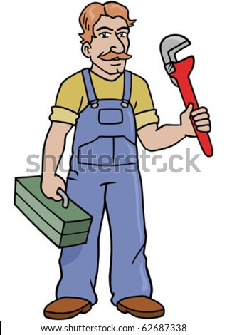 A handy man holding a wrench and toolbox.