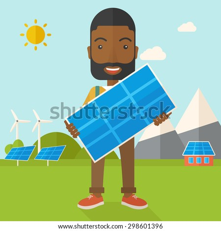 A happy african young man standing while holding a solar panel under the heat of the sun. A Contemporary style with pastel palette, soft blue tinted background with desaturated clouds. Vector flat - stock vector