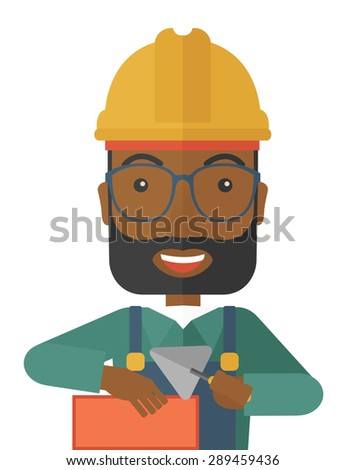 A happy black construction mason worker with trowel in hand wearing hard hat. A Contemporary style. Vector flat design illustration isolated white background. Vertical layout. - stock vector