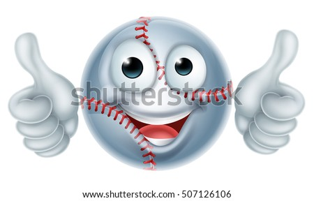 A happy cartoon baseball man mascot character doing a double thumbs up