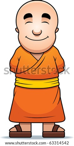 A happy cartoon Buddhist monk standing and smiling. - stock vector
