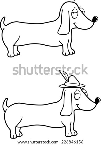 A happy cartoon Dachshund dog with an Oktoberfest hat on. - stock vector