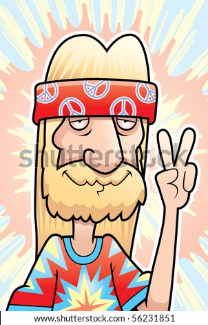 A happy cartoon hippie making the peace sign. - stock vector
