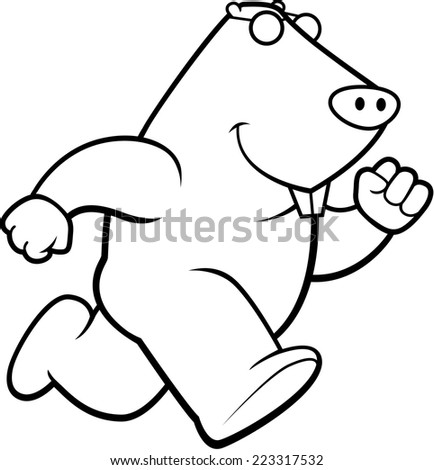 A happy cartoon mole running and smiling. - stock vector