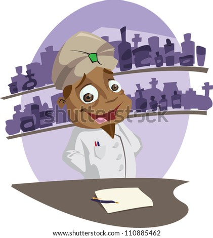 A happy cartoon pharmacist behind his counter. Illustrator .eps v10. Contains some transparency effects on eye highlights. - stock vector