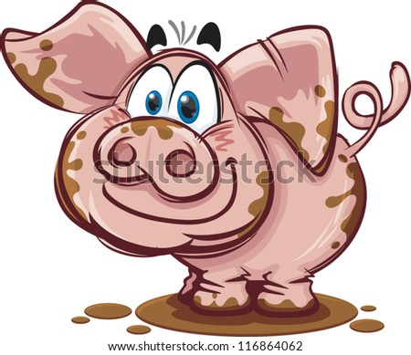 Cartoon Pig In Mud Puddle A happy cartoon pig covered in