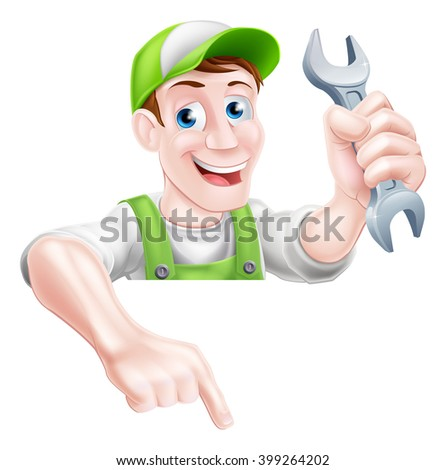 A happy cartoon plumber or mechanic man holding a spanner or wrench and pointing down - stock vector