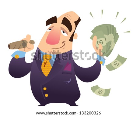 Rich man stock images royalty free images vectors shutterstock a happy cartoon rich man smoking cigar and holding many dollar bank notes sciox Images