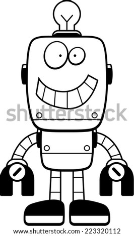 A happy cartoon robot standing and smiling.