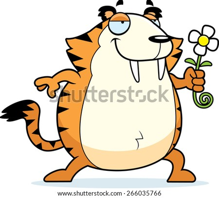 A happy cartoon saber-toothed tiger with a flower. - stock vector