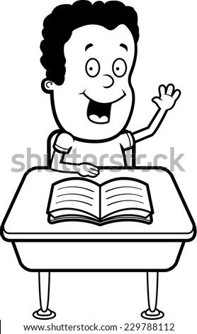 student desk clipart black and white. a happy cartoon student at desk in school. clipart black and white