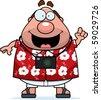 A happy cartoon tourist with an idea. - stock vector