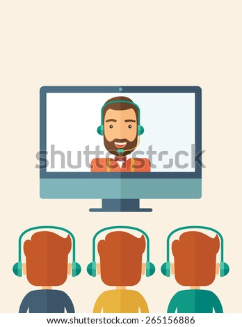 A happy Caucasian businessman in a monitor with beard giving a business presentation with three men in front of him wearing their headphones . Business presentation concept. A contemporary style  - stock vector