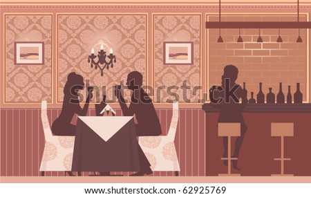 a happy couple dating drinking wine - stock vector