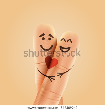 A happy couple in love with painted smiley and hugging - stock vector