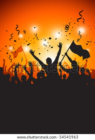 A happy crowd at a concert or stadium. Vector Illustration. - stock vector